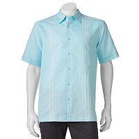 Men's Havanera Classic-Fit Embroidered Panel Linen-Blend Button-Down Shirt