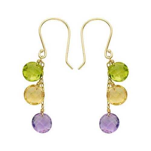 14k Gold Gemstone Drop Earrings