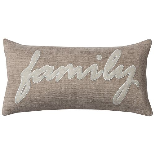 Rizzy Home ''Family'' Jute Oblong Throw Pillow