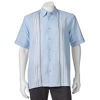 Men's Havanera Classic-Fit Striped Panel Embroidered Linen-Blend Button-Down Shirt