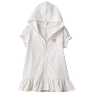 Girls 4-6x Pink Platinum Hooded French Terry Ruffled Cover Up