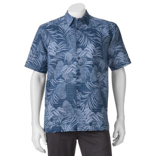 Men's Havanera Navy Floral Classic-Fit Linen-Blend Button-Down Shirt