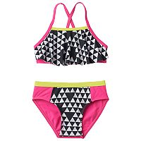 Girls 4-6x Pink Platinum Triangle Print Tankini & Scoop Bottoms Swimsuit Set