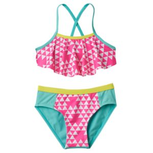 Girls 4-6x Pink Platinum Triangle Print Tankini & Scoop Bottoms Swimsuit Set
