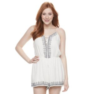 Juniors' Trixxi Embroidered Tie-Front Romper