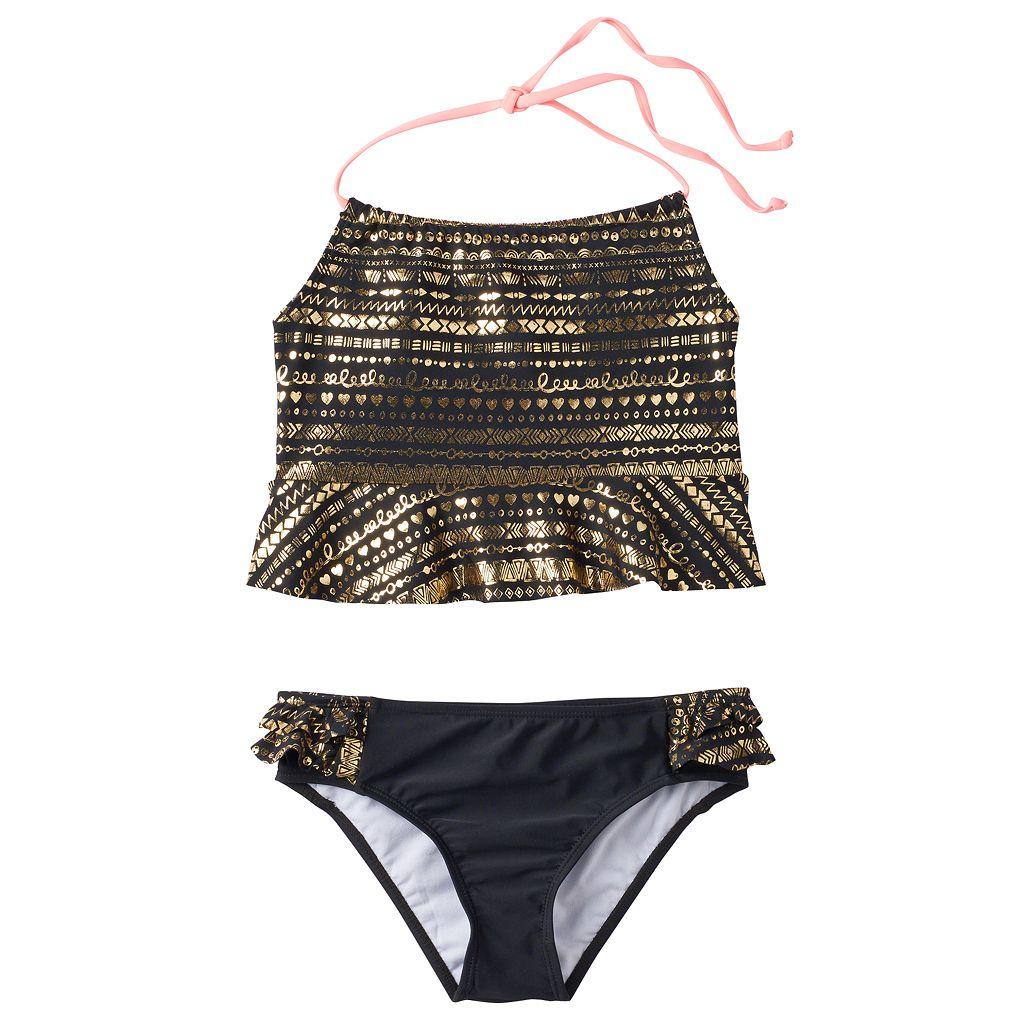 Girls 7-16 Pink Platinum Gold Foil Tankini & Scoop Bottoms Swimsuit Set