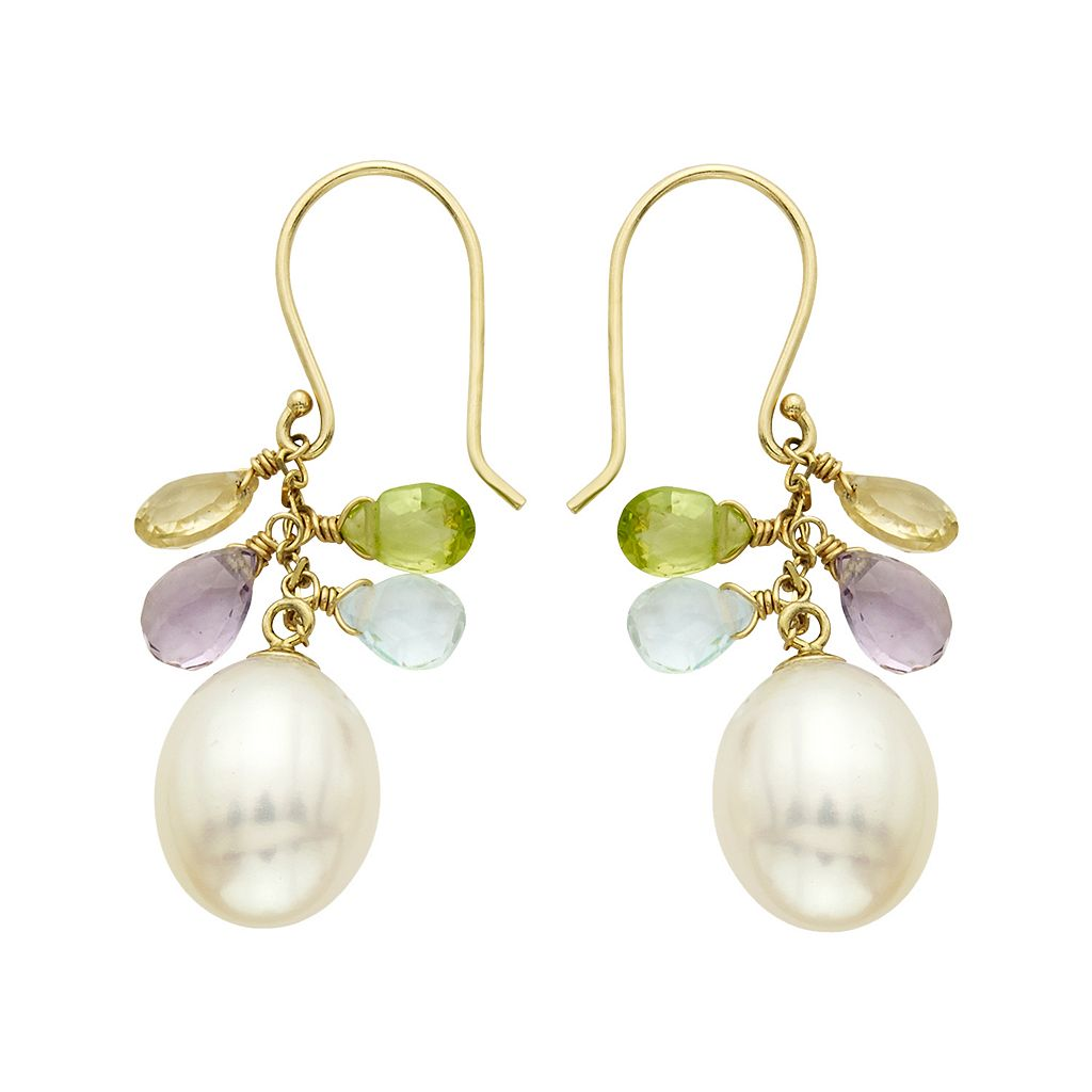 14k Gold Gemstone Briolette & Freshwater Cultured Pearl Drop Earrings