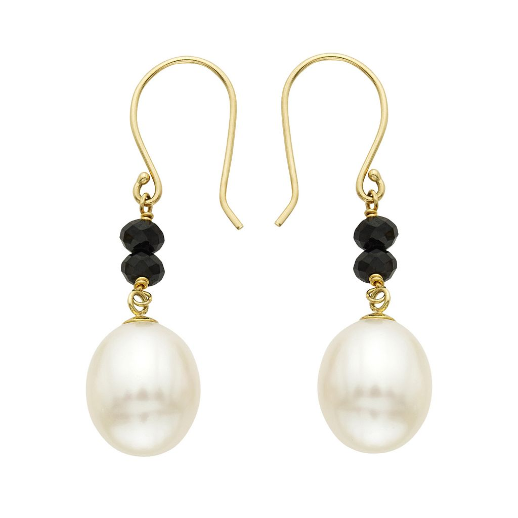 14k Gold Black Spinel & Freshwater Cultured Pearl Drop Earrings