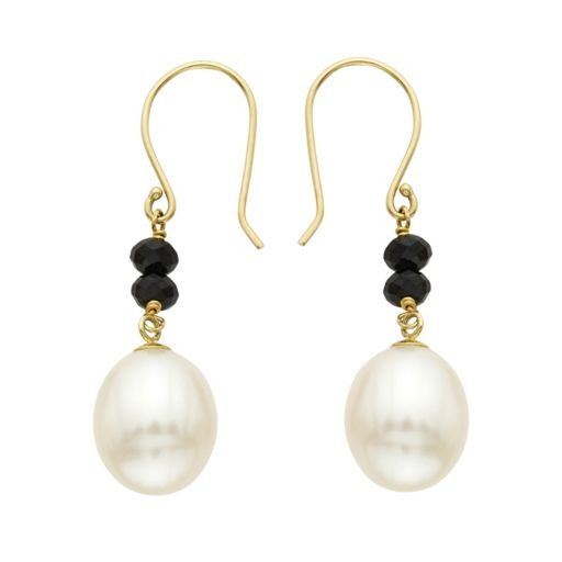 14k Gold Black Spinel & Freshwater Cultured Pearl Drop Earrings