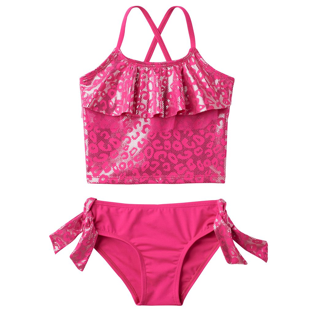 Girls 4-6x Pink Platinum Cheetah Print Tankini & Scoop Bottoms Swimsuit Set