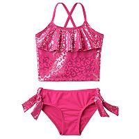 Girls 4-6x Pink Platinum Cheetah Print Tankini & Scoop Bottoms Swimsuit Set