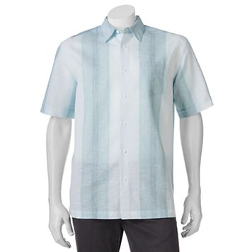 Men's Havanera Striped One-Pocket Linen-Blend Button-Down Shirt