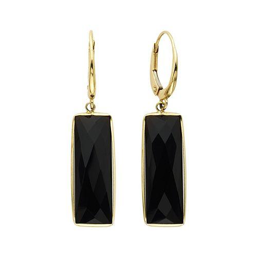 14k Gold Onyx Rectangle Drop Earrings