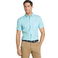 Men's IZOD Classic-Fit Windowpane Chambray Woven Button-Down Shirt