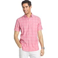 Men's IZOD Classic-Fit Windowpane Chambray Woven Button-Down Shirt