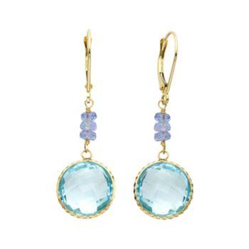 14k Gold Blue Topaz & Tanzanite Drop Earrings