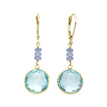 14k Gold Blue Topaz & Tanzanite Drop Earrings