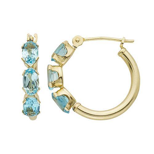 14k Gold Blue Topaz Hoop Earrings