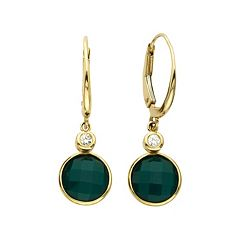 14k Gold Green Agate & Diamond Accent Drop Earrings