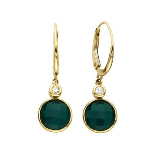 14k Gold Green Agate & Diamond Accent Drop Earrings