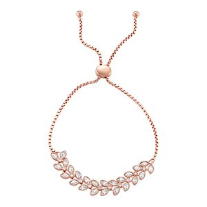 14k Rose Gold Over Silver Lab-Created White Sapphire Leaf Bolo Bracelet