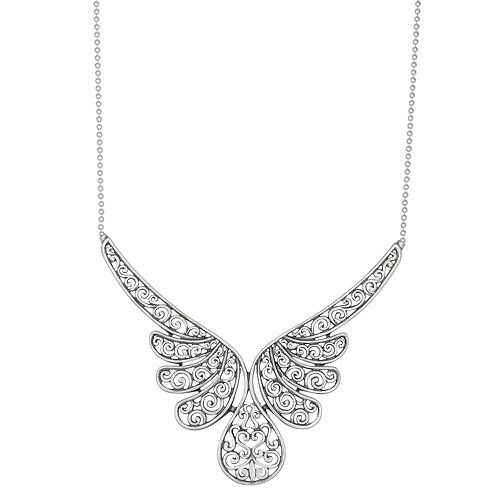 Sterling Silver Filigree Angel Wing Statement Necklace