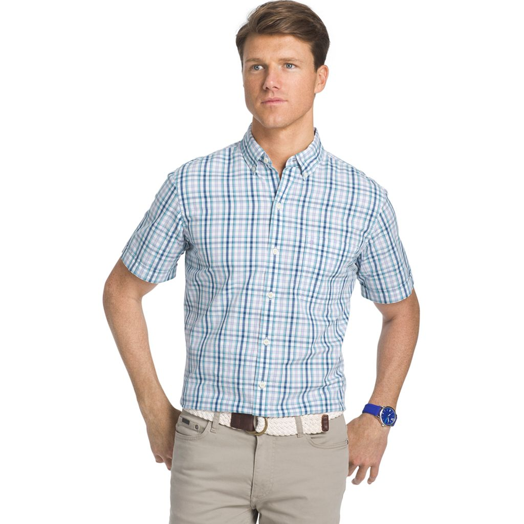 Men's IZOD Seaport Classic-Fit Plaid Poplin Button-Down Shirt