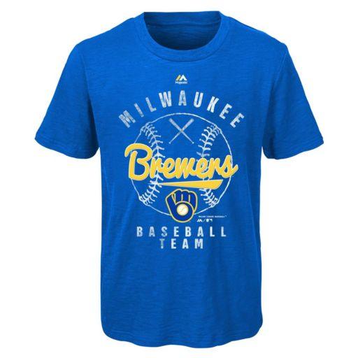Boys 8-20 Majestic Milwaukee Brewers 1st Print Tee