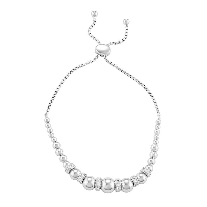 Sterling Silver Lab-Created White Sapphire Beaded Bolo Bracelet, Women's