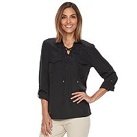 Women's Croft & Barrow® Lace-Up Blouse