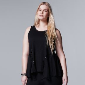Plus Size Simply Vera Vera Wang Sequin Handkerchief Tank