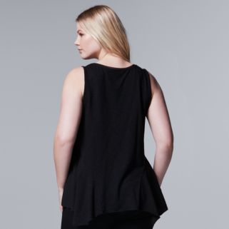 Plus Size Simply Vera Vera Wang Sequin Handkerchief Tank