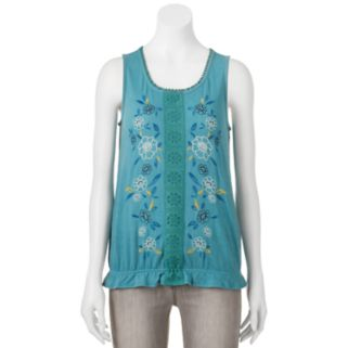 Juniors' Live To Be Spoiled Floral Banded Hem Tank