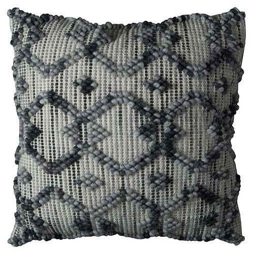 Rizzy Home Textured Intertwined Diamond Geometric Throw Pillow