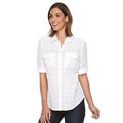 Womens White Button-Down Shirts Shirts & Blouses - Tops, Clothing ...