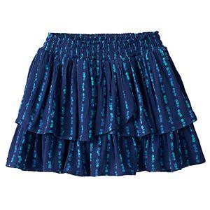 Girls 4-12 SONOMA Goods for Life™ Patterned Smocked Waist Tiered Gauze Skort
