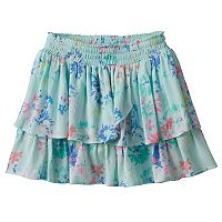 Girls 4-12 SONOMA Goods for Life™ Patterned Smocked Waist Tiered Gauze Skort