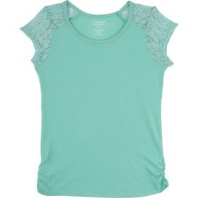 Girls 4-6x French Toast Lace Shoulder Tee