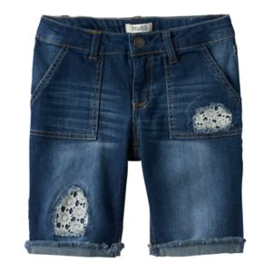 Girls 7-16 & Plus Size Mudd® Lace Patched Bermuda Jean Shorts