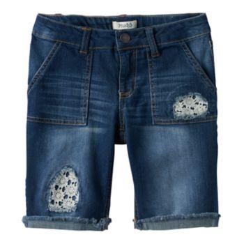 Girls 7-16 & Plus Size Mudd® Lace Patched Bermuda Jean Shorts