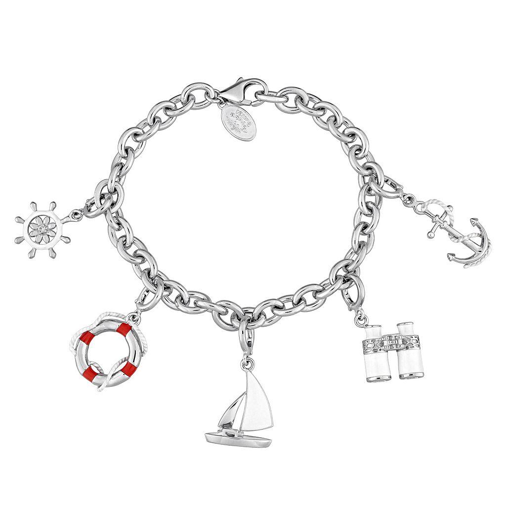 Laura Ashley Sterling Silver Lab-Created Sapphire Nautical Charm Bracelet Set