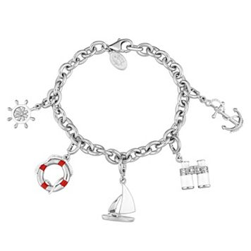 Laura Ashley Sterling Silver Lab-Created Sapphire Nautical Charm Bracelet Set