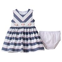 Baby Girl Bonnie Jean Striped Rosette Dress