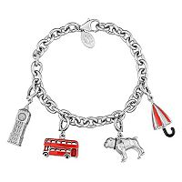 Laura Ashley Sterling Silver London Charm Bracelet Set
