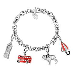 Stella Grace Laura Ashley Sterling Silver London Charm Bracelet Set