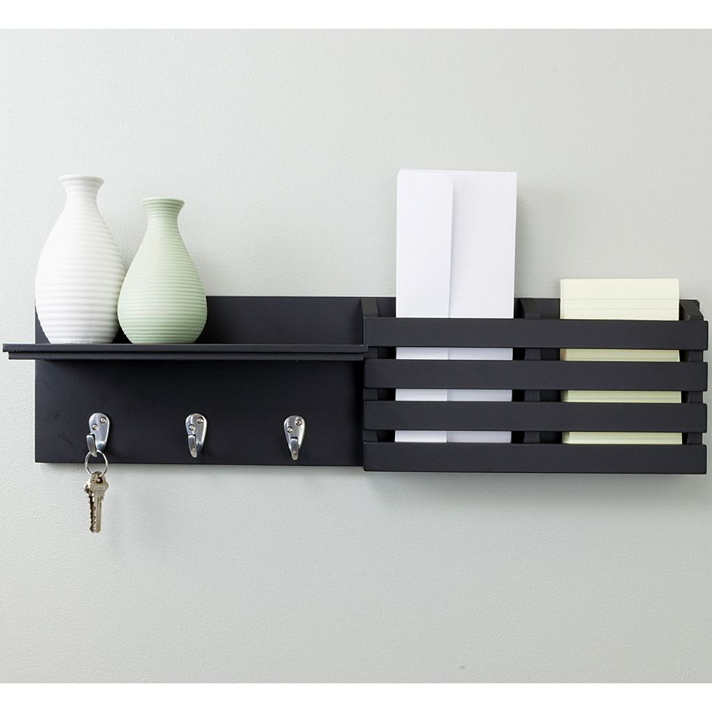 Kiera Grace Sydney 3-Hook Mail Holder Wall Shelf