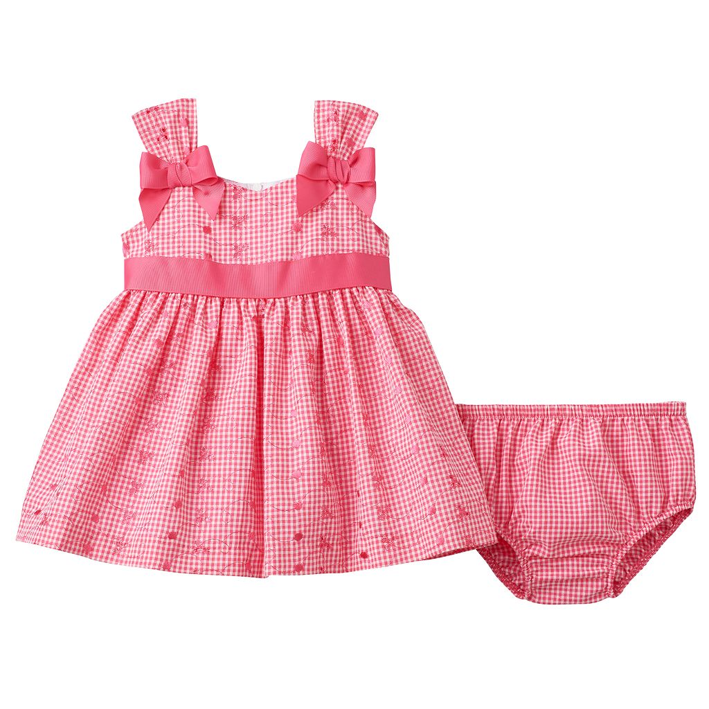 Baby Girl Bonnie Jean Gingham Eyelet Dress