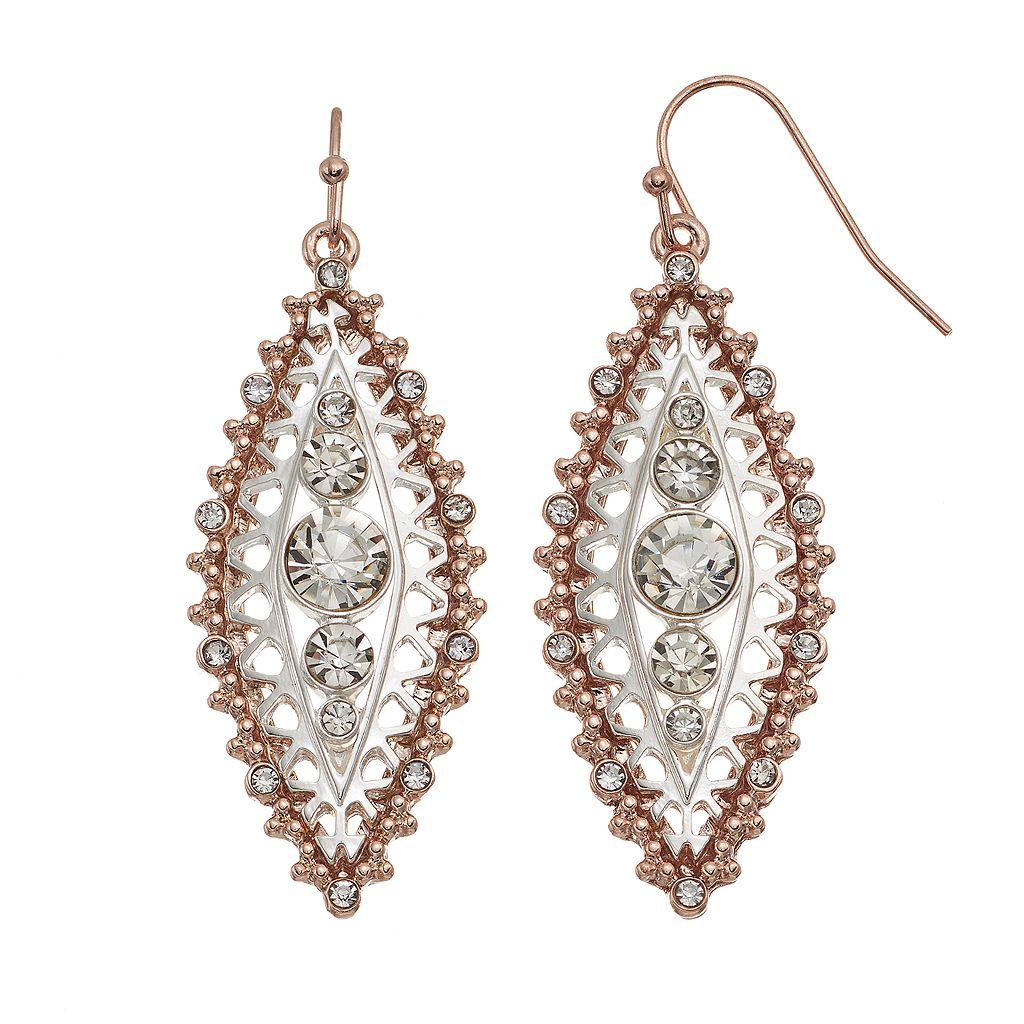 Jennifer Lopez Two Tone Openwork Marquise Drop Earrings