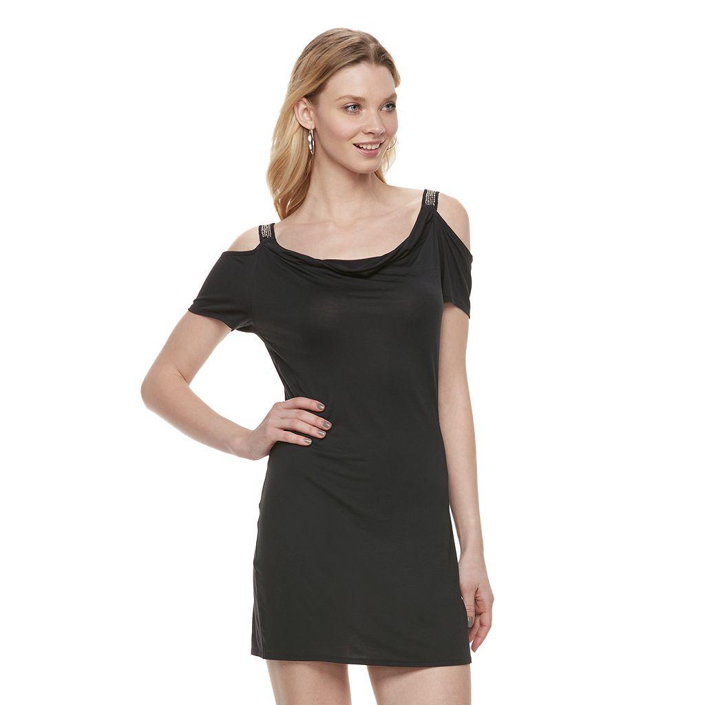 Women's Rock & Republic® Cold-Shoulder Embellished Shift Dress