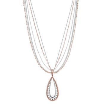 Jennifer Lopez Two Tone Multi Strand Teardrop Pendant Necklace